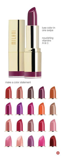 Milani knows that the best way to make an entrance is by making a statement—in walks Milani Color Statement Lipstick in vibrant colors ranging from pretty pinks to radiant reds. Infused with nourishing vitamins A and C, Color Statement Lipstick feels as good on the lips as it looks.