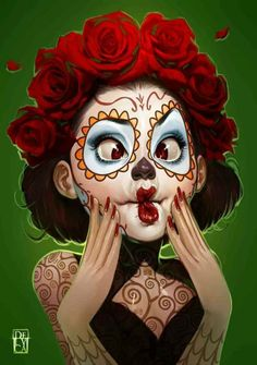 Beautiful sugar skull Illustrations by Antonio de Luca Art And Illustration, Illustrations, Los Muertos Tattoo, Catrina Tattoo, Sugar Skull Art, Sugar Skulls, Anime Kunst, Chicano Art, Wow Art