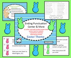 whole group activity, task cards, and worksheets for ending punctuation---Easter theme
