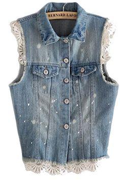 Women's Lace Denim Vest Size M White&black Fengbay… Vest Outfits, Chic Outfits, Shabby Chic Jackets, Denim Vests, Denim Ideas, Denim And Lace, Altering Clothes, Denim Fashion, Diy Clothes