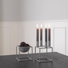 Cool grey is an ideal match to the Kubus 4 candleholders balanced and minimalist design and works well in combination with the Kubus Bowl which is also available in cool grey.