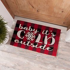 Warm holiday guests from the doorstep with our Baby It's Cold Outside Buffalo Check Doormat. Christmas Door, Plaid Christmas, Christmas Signs, All Things Christmas, Christmas Time, Christmas Crafts, Christmas 2017, Porch Mat, Winter Home Decor