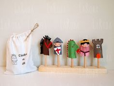 Set of five felt finger puppets. by LaRoba on Etsy Saint George And The Dragon, Baby Mobile Felt, Felt Finger Puppets, Felt Patterns, Wooden Pegs, Busy Book, Play To Learn, Cotton Bag, Cloth Bags