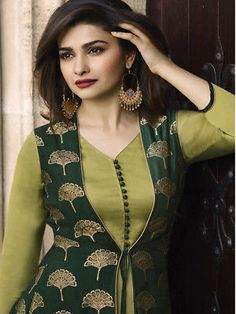 This Banarasi Jacquard And Satin Green Colour Kurti Is The Fun Attire Of The Moment. Get It On and Style It With Handbag and Earrings For The Perfect Day Look. Its Party Wear and Cute - The Essentials. Salwar Designs, Simple Kurti Designs, Kurta Designs Women, Kurti Designs Party Wear, Latest Kurti Designs, Churidar Neck Designs, Neckline Designs, Dress Neck Designs, Neck Designs For Suits