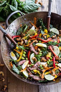 Thai Steak Salad w/Sweet + Spicy Tahini Dressing and Sesame Chili-Lime Cashews