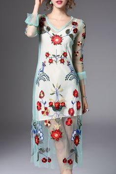 Flower Embroidered Midi Dress with Tank Top