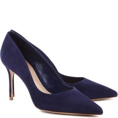 "Schutz | Rosie suede mid-heel pointy pump | Navy 3"" heel 