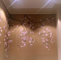 Wall Painting Decor, Diy Wall Art, Gold Painted Walls, Magnolia Wallpaper, Watercolor Floral Wallpaper, Cherry Blossom Art, Magnolia Design, Hand Painted Wallpaper, Japanese Interior Design