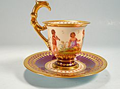 Rare Dresden Demi Cup and Saucer Children Eagle Handle