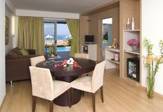 The Imperial Suite in Chania Crete, ensures a relaxing stay in their luxury interiors featuring a private pool on the Water Front. Beach Accommodation, Private Pool, Crete, Luxury Interior, Relax, Layout, Living Room, Cobalt, Water