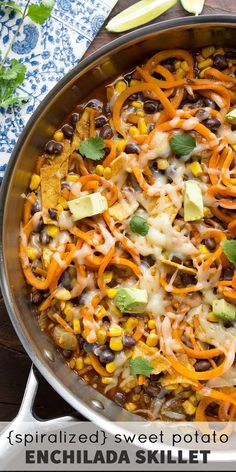 Sweet Potato Enchilada Skillet, an easy vegetarian dinner recipe that. Spiralized Sweet Potato Enchilada Skillet, an easy vegetarian dinner recipe that.Spiralized Sweet Potato Enchilada Skillet, an easy vegetarian dinner recipe that. Sweet Potato Noodles, Veggie Noodles, Sweet Potato Dinner, Zuchinni Noodles, Mexican Food Recipes, Vegan Recipes, Cooking Recipes, Cooking Games, Lunch Recipes