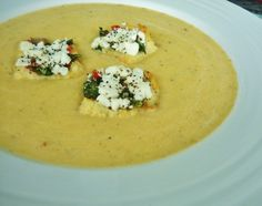 Yellow Tomato Soup With Goat Cheese Croutons