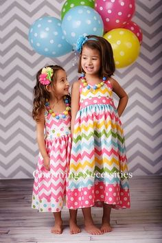 Chevron Big Little Sister Set, Easter Sibling Outfits, Halter Sun dress for Girls in Candy Coated Pink Multi Chevron Charming Necessities