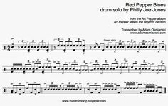 """As promised, some more Philly Joe. This time """"Red Pepper Blues"""", from the album Art Pepper Meets The Rhythm Section . """"The Rhythm Sectio. Drum Solo, Transcription, Drums, Pepper, Sheet Music, Album, Red, Percussion, Drum"""
