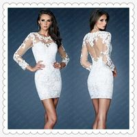 Freeshipping! ER3264 Latest Lace White Short Prom Dresses with Sleeves