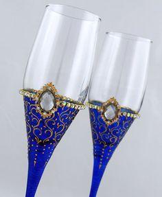 Royal Blue Wedding Glasses Royal blue & by InspirationsArtGlass