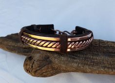Men's Leather and Copper Bracelet Leather by ColeTaylorDesigns