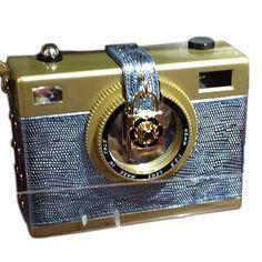 """Tigerstars l $46.00 Designer Inspired """"Say Cheese"""" Gold Blue Camera Case Novelty Handbag"""