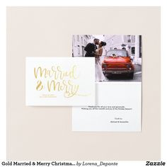 Gold Married & Merry Christmas Thank you Wedding Foil Card First Christmas Married, Christmas Thank You, Merry Christmas, Couple Texts, Night Couple, Couple Drawings, Foil Card, Special Day, Wedding Cards