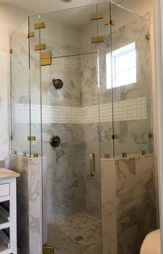 Beautiful Heavy Glass Shower Door With Gold Clips.