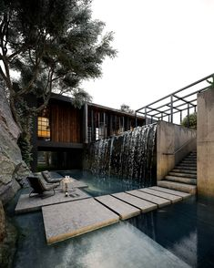Waterfall Design, Waterfall House, Pond Waterfall, Modern Villa Design, Rustic Design, Urban Design, Contemporary Design, Design Exterior, Dark House