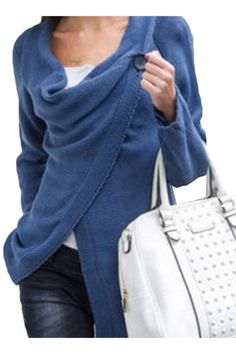 Casual Soft Knit Long Sleeve One-Button Wrap Cardigan - OASAP.com