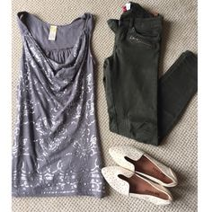 Anthropologie embellished tank Anthropologie gray top-beautiful silver embellishments throughout. Cowl neck style collar with cute gauzy sleeve and upper back. Size says xs but could also fit small-like new. I think I wore it once..but can't remember if I even ever did. Anthropologie Tops Tank Tops