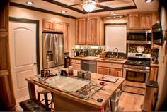 Kitchen with island My House, Kitchen Island, Flooring, Home Decor, Island Kitchen, Decoration Home, Room Decor, Wood Flooring, Home Interior Design