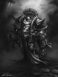 Champion of Chaos Undivided - A gallery-quality illustration art print by Pavel Sokov for sale. Warhammer 40k Art, Warhammer Fantasy, Chaos 40k, Chaim Soutine, Fantasy Beasts, Black And White Artwork, The Grim, Space Marine, Art Google