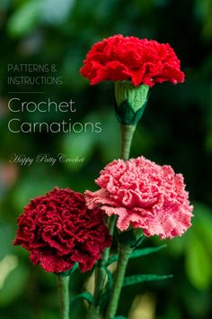 Crochet Carnation Pattern by Happy Patty Crochet // A popular Mother's Day gift, the January birth month flower and the 1st Wedding Anniversary flower. Crochet several of this beautiful Carnation for yourself or loved ones, as a gift or simply to brighten their day.