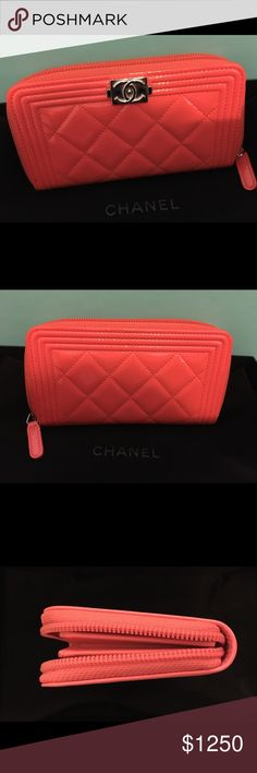 4a8d97a7443b Chanel Boy Wallet Excellent pre owned patent leather zip wallet in a  tangerine color with silver