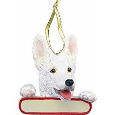 German Shepherd Ornament White Santas Pals With Personalized Name Plate A Great Gift For German Shepherd Lovers *** You can find out even more details at the link of the picture. (This is an affiliate link). Dog Ornaments, How To Make Ornaments, Holiday Ornaments, German Christmas, Christmas Fun, Buy German Shepherd, Popular Dog Breeds, Miniature Dogs, Your Pet