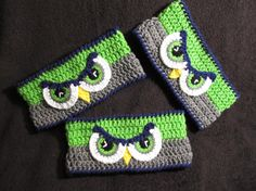 Crochet Seahawk EYES Ear Warmer - Adult, Child and Toddler Sizes - Made to Order