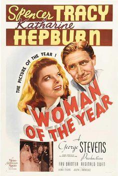 La mujer del año, 1942 Ésta es la primera película de la famosa pareja formada por Spencer Tracy y Katharine Hepburn. Él es un periodista deportivo, ella, una periodista política que necesita que le recuerden los placeres simples de la vida. Una inteligente comedia de lucha de sexos llena de química y encanto.