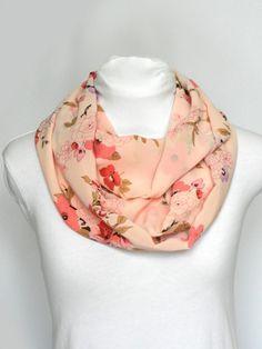 Light Pink Floral Infinity Scarf/ Chiffon Scarf/ Medium by Zaleon