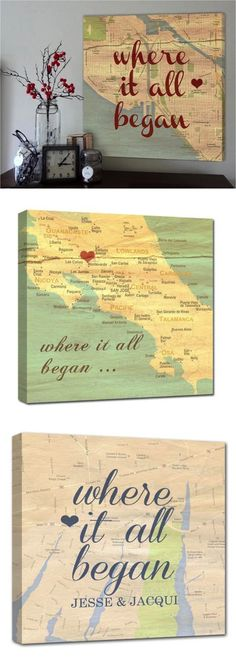 Personalized maps with names dates, a vintage twist to a map of the place you met, married, honeymooned.   Made by people who care on Hatch.co