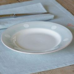 Blue / White Spot Side Plate - 20.5 cm