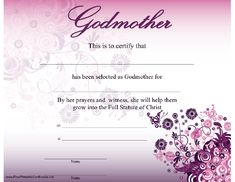 Printable baby dedication certificate digital by studiobparties a godmother certificate with a beautiful modern purple flower and butterfly design certifies selection yelopaper Images