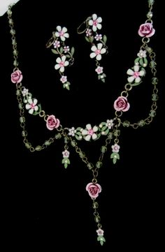 Rose Necklace and Earrings set 1960 Avon Vintage