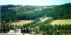 """The Florence American Cemetery and Memorial site in Italy covers 70 acres, chiefly on the west side of the Greve """"torrente."""" The wooded hills that frame its west limit rise several hundred feet. Between the two entrance buildings, a bridge leads to the burial area where the headstones of 4,402 of our military dead. On May 2, 1945 the enemy troops in northern Italy surrendered. #memorials #American #America"""