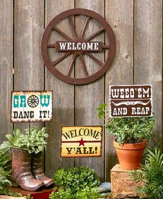 Cowboy up when redecorating your outdoor space with a Wild West Garden Accent. Hang the Wagon Wheel Welcome Sign dia.) on a fence or wall. Ready to hang. Stick the Set of 3 Garden Picks x including the ground stake, each) Bamboo Fence, Cedar Fence, Brick Fence, Concrete Fence, Fence Landscaping, Backyard Fences, Pool Fence, Backyard Ideas, Garden Ideas