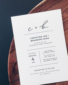 Minimalist Black and White Handlettered Wedding Invitations by Grace Niu #weddinginvitations