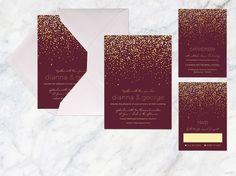 Printable Hochzeitseinladung gesetzt rotbraun Gold von whitekittin