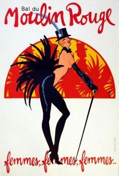 Bal du Moulin Rouge, 1983 - original vintage poster by Rene Gruau (Renato de Zavagli) listed on AntikBar.co.uk