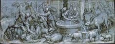 Paolo Farinati. Vérone, 1524-1606. Moïse et les filles de Jéthro au puits Vers 1595 Plume et encre brune sur esquisse à la pierre noire, lavis brun et bleu, rehauts de gouache blanche, sur papier bleu. 210 x 545 mm. Les indications des œuvres sur le même thème m'ont été données par Hélène Sueur. Paris, BNF, Estampes, Rés. B 3 (anc. Rb 17)