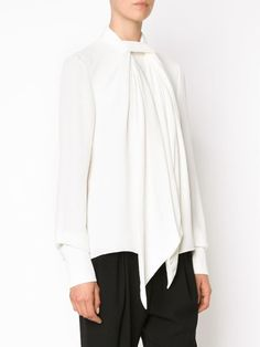 Sleeveless Pussy Bow Blouse lavalli\u00e8re white shirt 100/% cotton minimalist workwear | Cropped raw Edge blouse