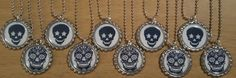 Set of 10 SUGAR SKULL Flat Bottlecap Necklaces! Fast Shipping!! Day Of The Dead! by OneStopBottlecaps on Etsy