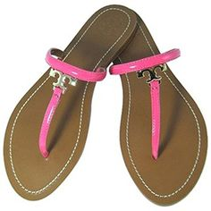 1e4032ac5d9e TORY BURCH T Logo Patent Flat Thong Sandals Pink Bloom.  toryburch  shoes   shoes