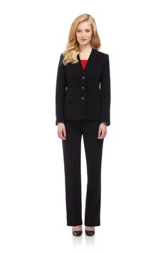 Black Twill Tailored Trouser Suit for women - http://smartcasualdress.co.uk/fashion-and-business/business-womens-suits-autumn-winter-2013