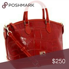 """Dooney & Bourke EUC Red Authentic Crocodile Satchel Can Be Carried as Crossbody or Handle Bag H 9.5"""" x 5"""" W x 12.75 L Handle drop 4"""" Dooney & Bourke Bags Satchels"""